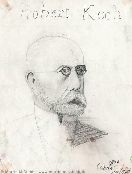 Bleistiftzeichnung: Portrait Robert Koch