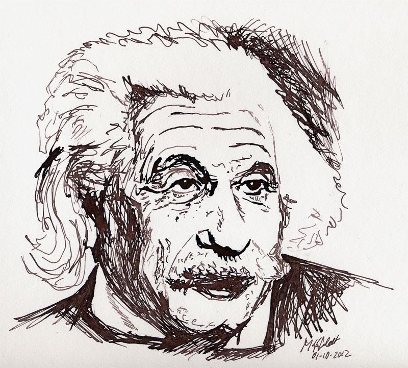 Federzeichnung: Portrait Albert Einstein